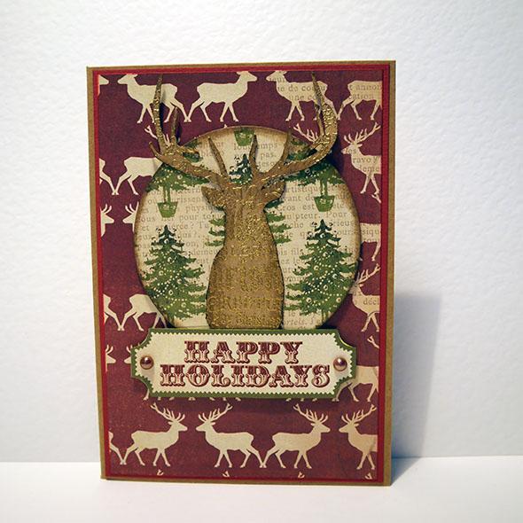 reindeer stamped happy holidays